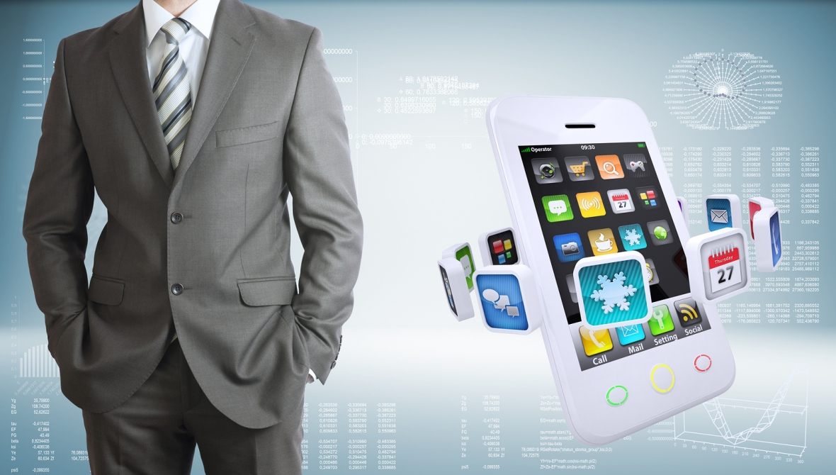 Businessman with smartphones and colorful apps